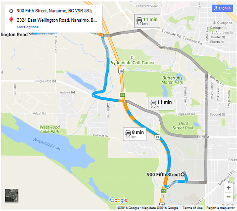map from 900 5th Street Nanaimo BC to 2324 East Wellington Rd nanaimo BC