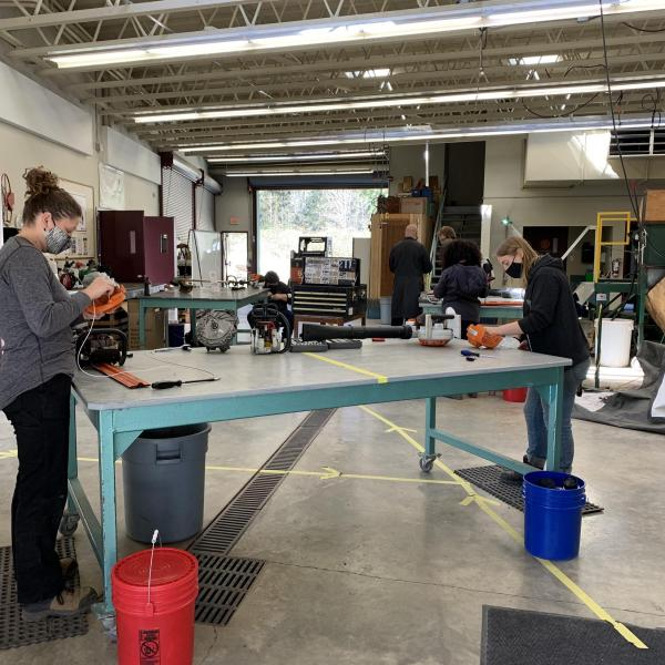 VIU Horticulture students participating in small engine mechanics course